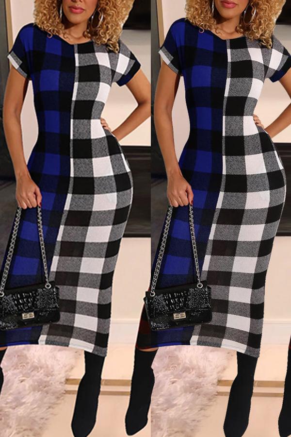 lovelywholesale / Cheap Dress Lovely Chic O Neck Plaid Print Blue Mid Calf Dress