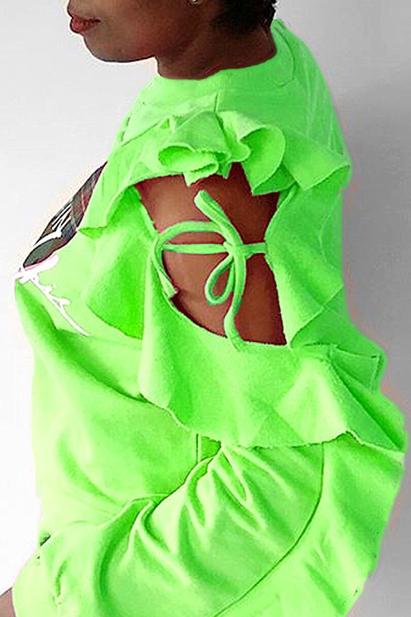 Lovely Leisure Heart Green Hoodie
