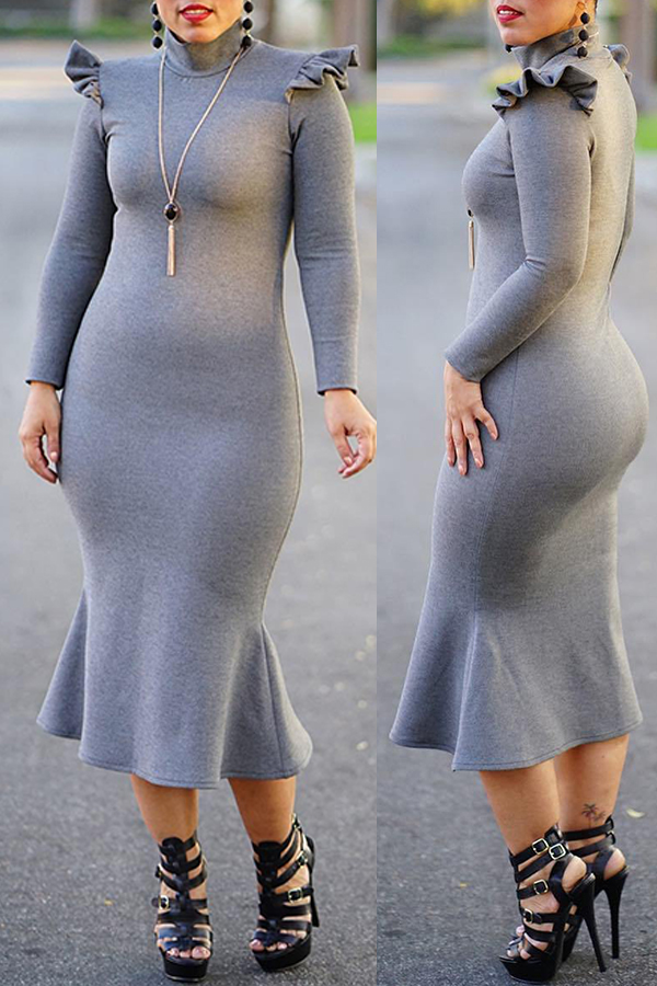 Lovely Sweet Turtleneck Flounce Design Grey Mid Calf Dress