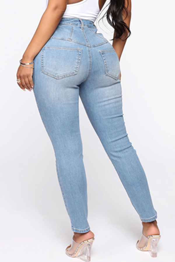 Lovely Casual Skinny Baby Blue Jeans
