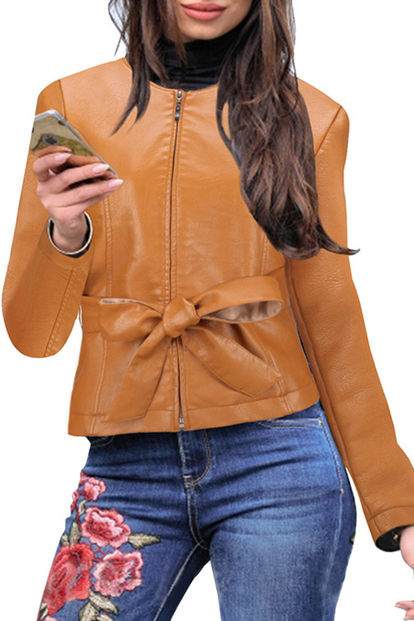 Lovely Leisure Zipper Knot Brown Coat
