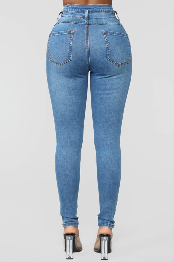 Lovely Chic Broken Holes Baby Blue Jeans