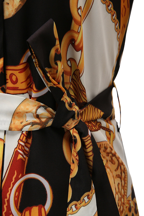 Lovely Casual Turndown Collar Print White Plus Size Mini Dress