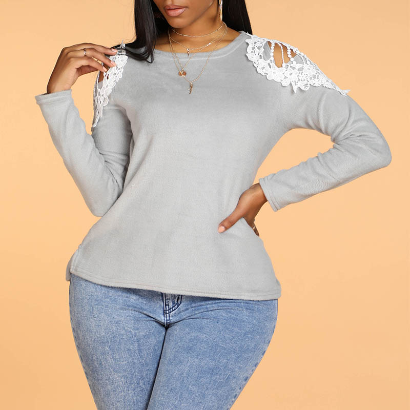lovelywholesale / Cheap Blouses&Shirts Lovely Casual Hollow-out Grey Blouse