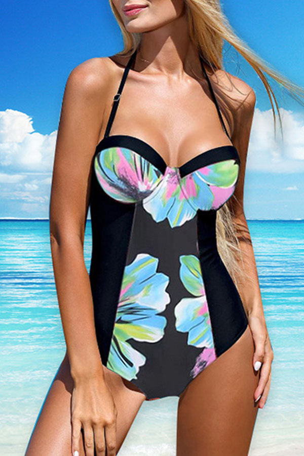 Lovely Bohemian Floral Pink One-piece Swimsuit