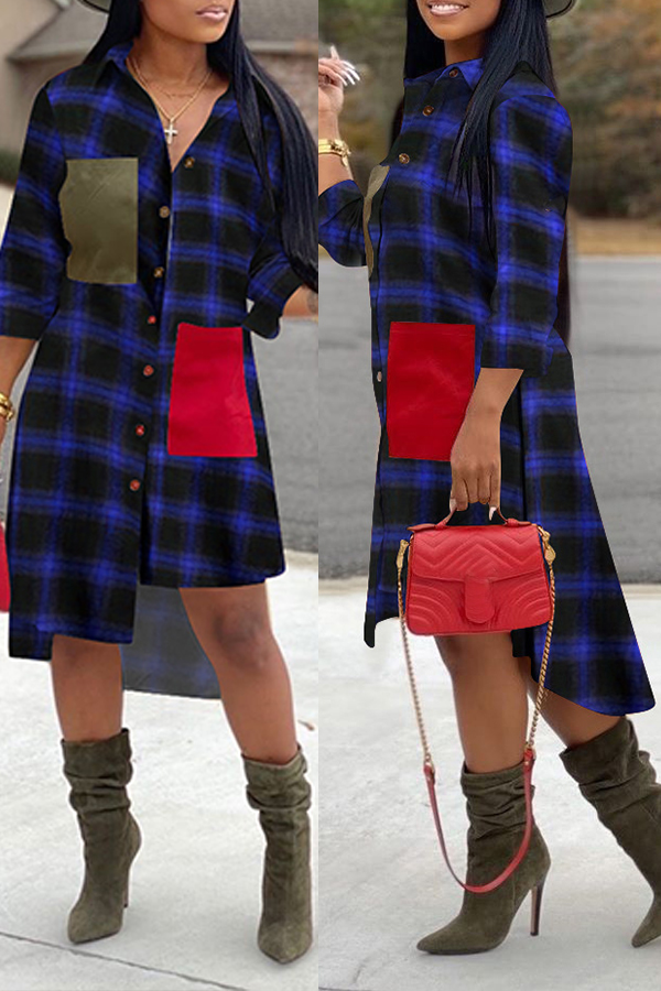 Lovely Chic Turndown Collar Plaid Blue Mid Calf Dress