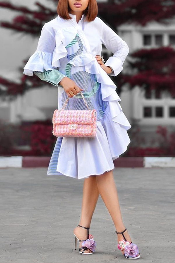 Lovely Sweet Patchwork Flounce White Knee Length Dress