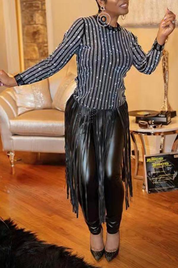 Blouses&Shirts Lovely Casual Tassel Design Black Blouse фото