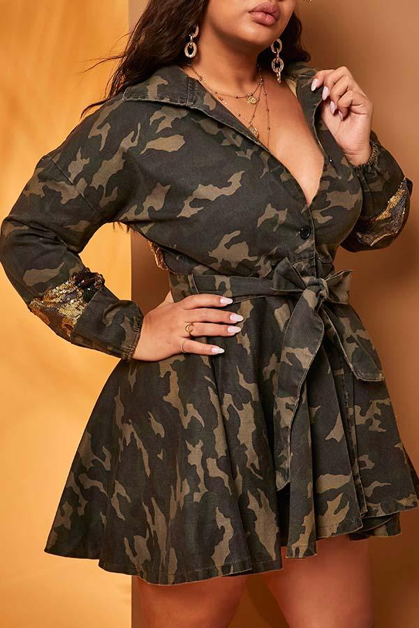 Lovely Trendy Camo Print Coat