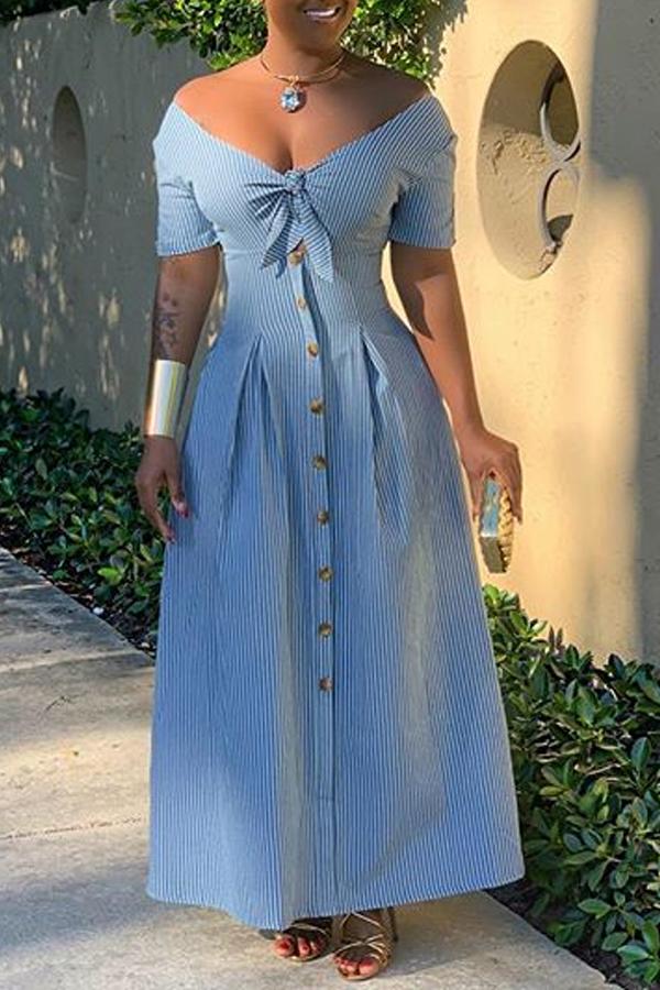 Lovely Stylish Striped Blue Ankle Length Dress