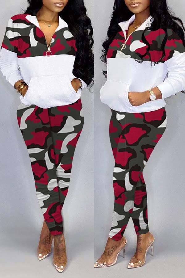LW Trendy Camo Patchwork Red Two-piece Pants Set