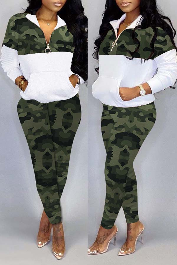 Lovely Trendy Camo Patchwork Green Two-piece Pants Set