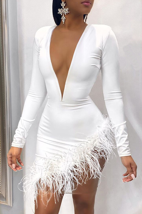 Lovely Chic Deep V Neck White Mini Dress