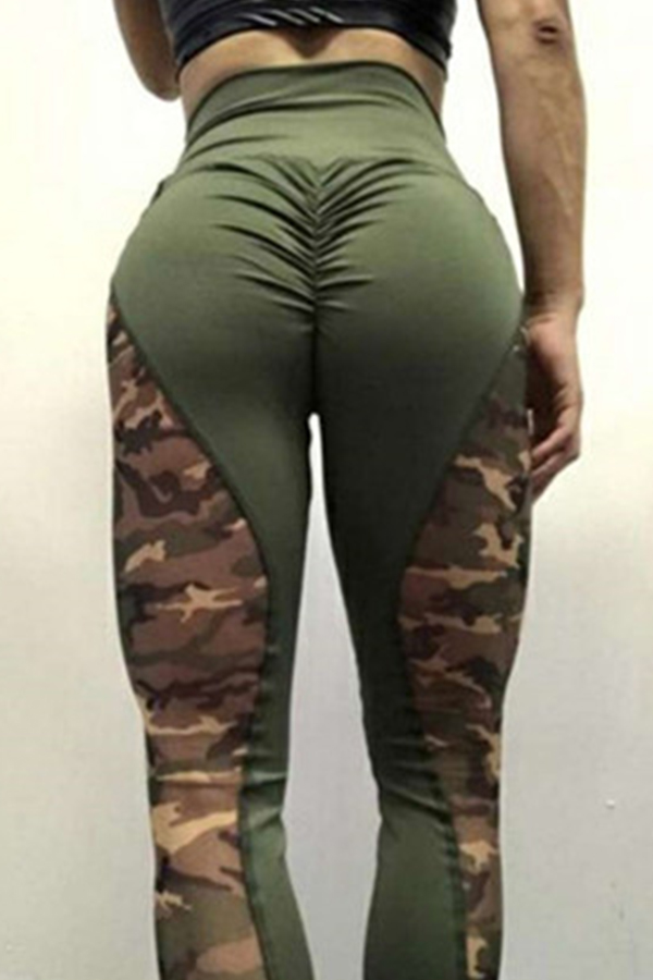 Lovely Casual Camo Army Green Leggings