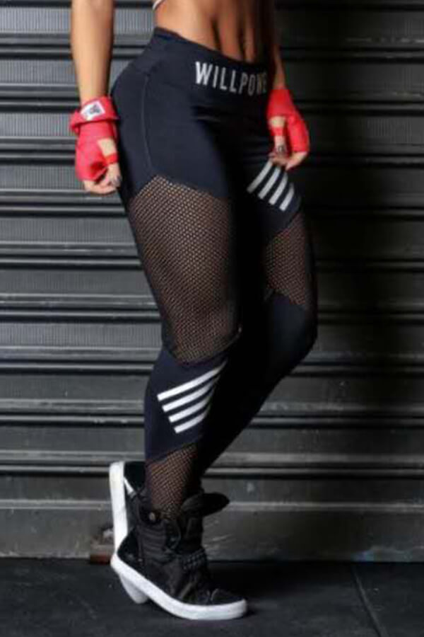 Lovely Casual Patchwork Hollow-out Black Leggings