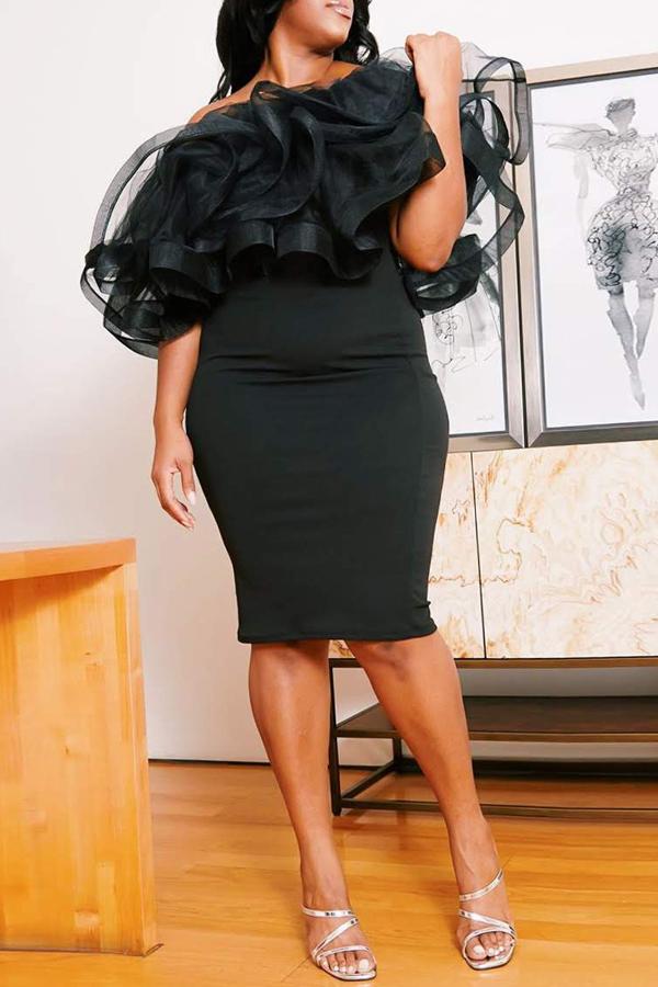 Lovely Sexy Flounce Black Knee Length Plus Size Dress