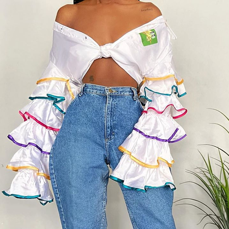 Lovely Casual Flounce White Blouse