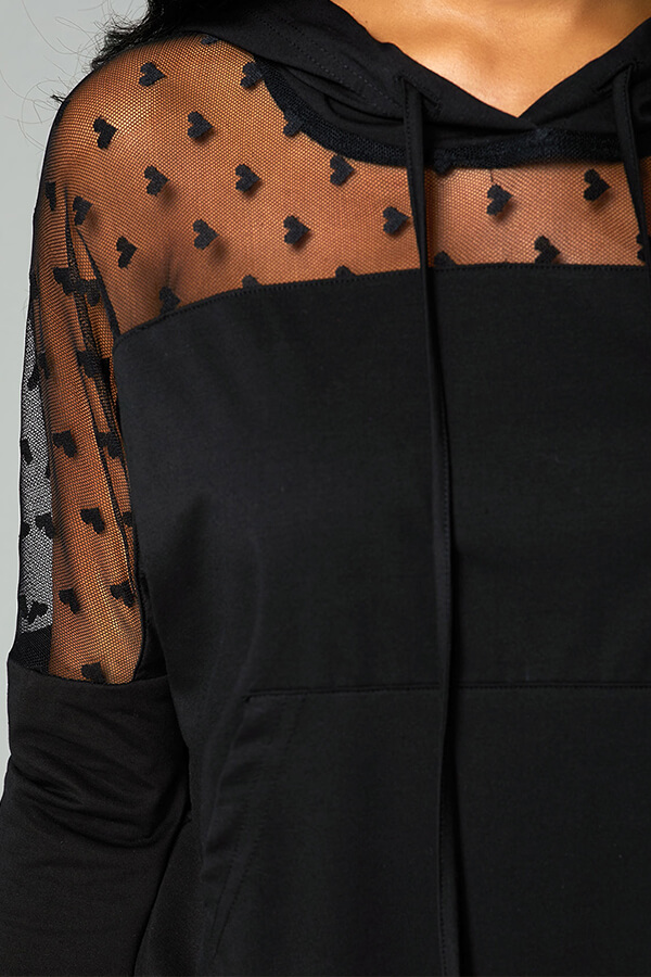 Lovely Chic Patchwork Blck Hoodie