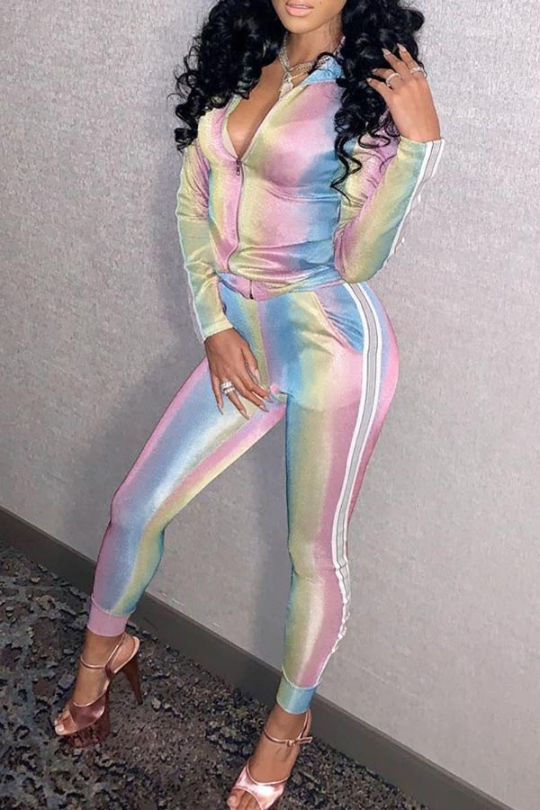 Lovely Chic Print Multicolor Two-piece Pants Set