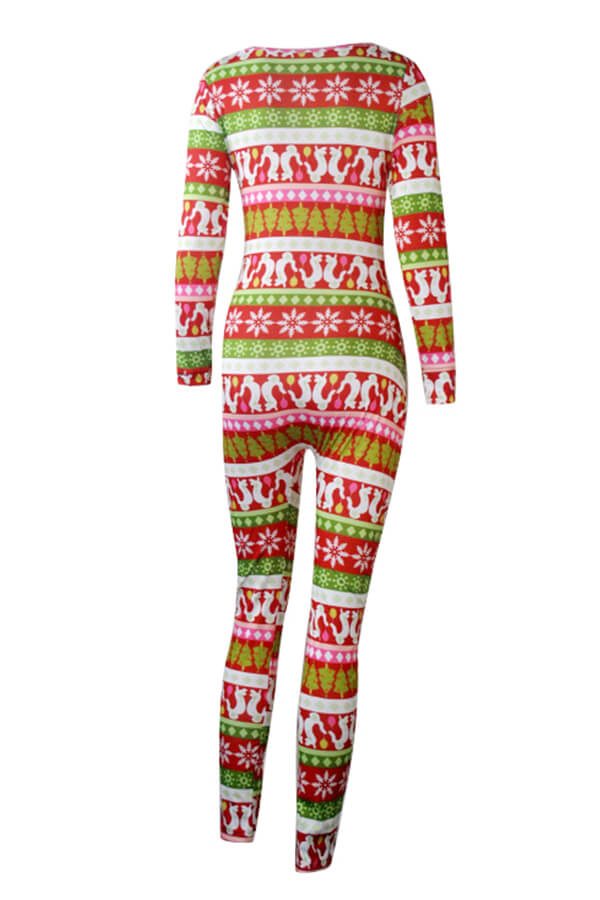 LW BASICS Christmas Day Print Red One-piece Jumpsuit
