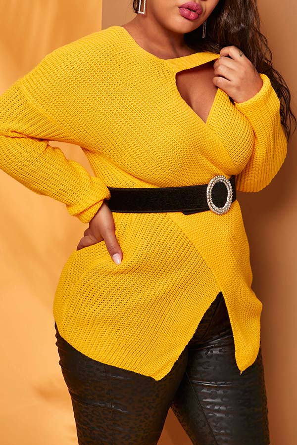 Lovely Sweet Cross-over Design Yellow Sweater