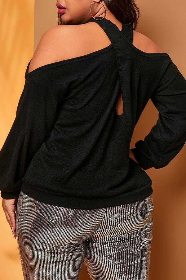 Lovely Casual Dew Shoulder Black Plus Size T-shirt