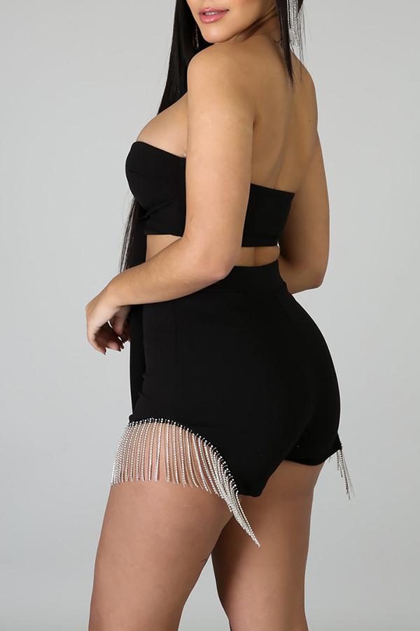 Lovely Sexy Tassel Design Black Two-piece Shorts Set