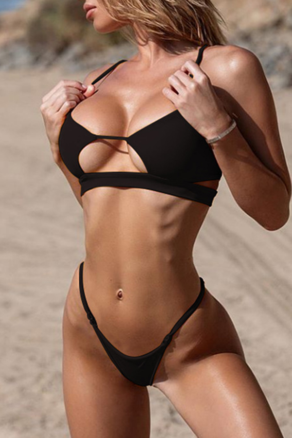 Lovely High-Leg Black Two-piece Swimsuit