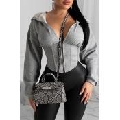 Lovely Chic Hooded Collar Zipper Design Grey Hoodi