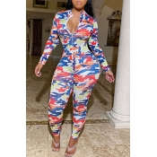 Lovely Sexy Camo Print Red One-piece Jumpsuit