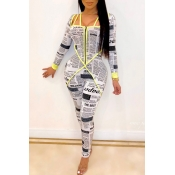 Lovely Chic Letter Print White One-piece Jumpsuit