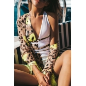Lovely Lace-up Patchwork Yellow One-piece Swimsuit