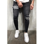 Lovely Casual Plaid Patchwork Black Jeans