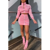 Lovely Casual Letter Zipper Design Pink Two-piece