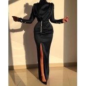 Lovely Party Turtleneck Slit Black Prom Dress