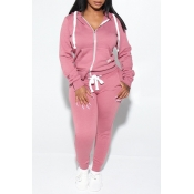Lovely Casual Hooded Collar Zipper Design Dusty Pink Two-piece Pants Set
