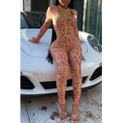 Lovely Sexy Skinny Print Multicolor One-piece Jump