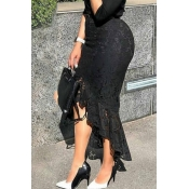 Lovely Work Asymmetrical Lace Black Skirt