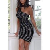 Lovely Party One Shoulder Black Mini Vest Dress