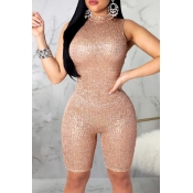 Lovely Casual Skinny Gold One-piece Romper