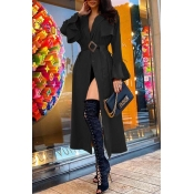 Lovely Casual Lace-up Black Trench Coat