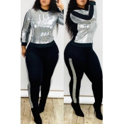 Lovely Casual Patchwork Silver Two-piece Pants Set