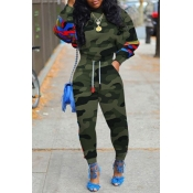 Lovely Casual O Neck Print Green Two-piece Pants S