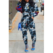 Lovely Casual O Neck Print Blue Two-piece Pants Se