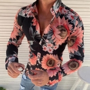 Lovely Bohemian Floral Print Light Pink Shirt