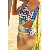Lovely Hollow-out Print White One-piece Swimsuit