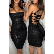 Lovely Party Spaghetti Straps Black Mini Dress