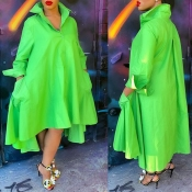 Lovely Casual V Neck Loose Green Ankle Length Dres
