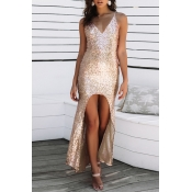 Lovely Party Spaghetti Straps Apricot Evening Dres