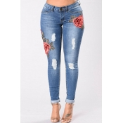 Lovely Casual Embroidery Design Deep Blue Jeans